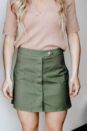 Olive Button Down Skirt