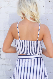 Cancun Calling Navy Striped Crop Top