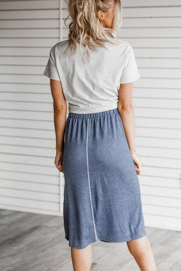Watch Me Blue Mid-Length Skirt