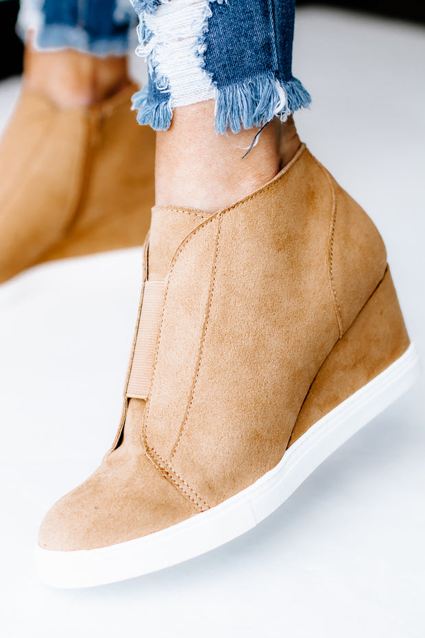 Vesper Tan Hidden Wedge Sneaker