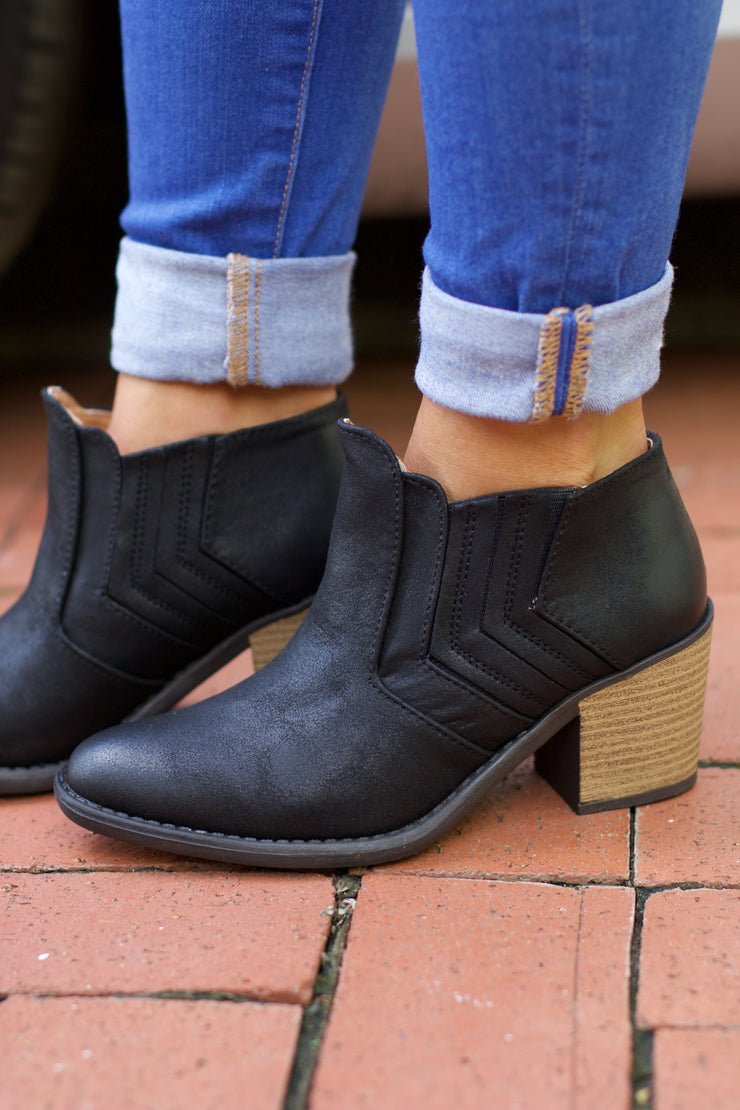 Tobin Black Oil Finished Distressed Bootie