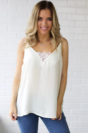 I Can't Tell Ivory Satin V-Neck Cami Top