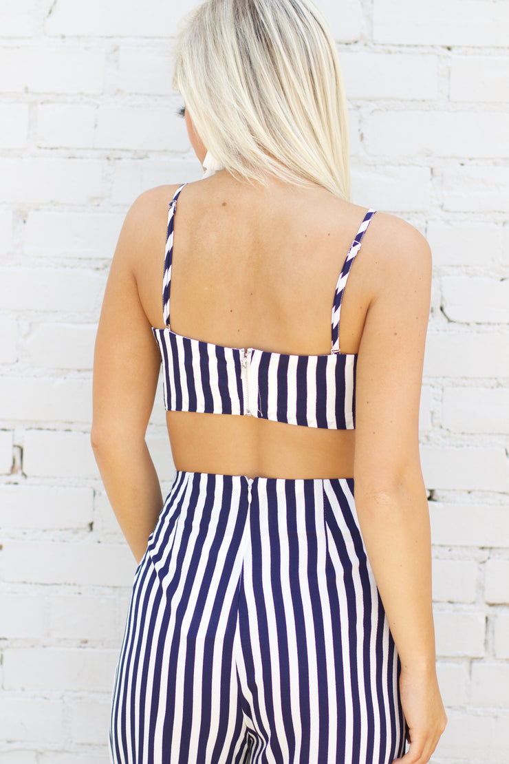 Noticing Change Navy Striped Crop Top