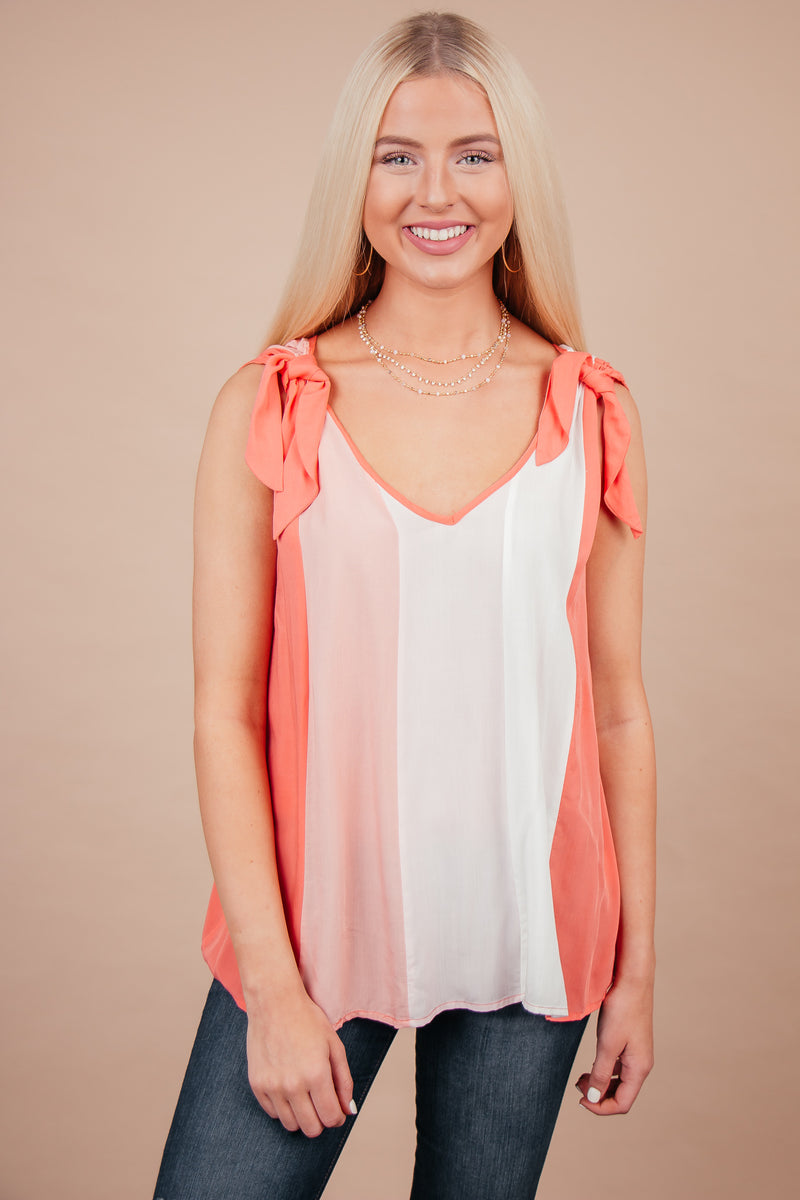 Sweet Summer Coral Color Block Top