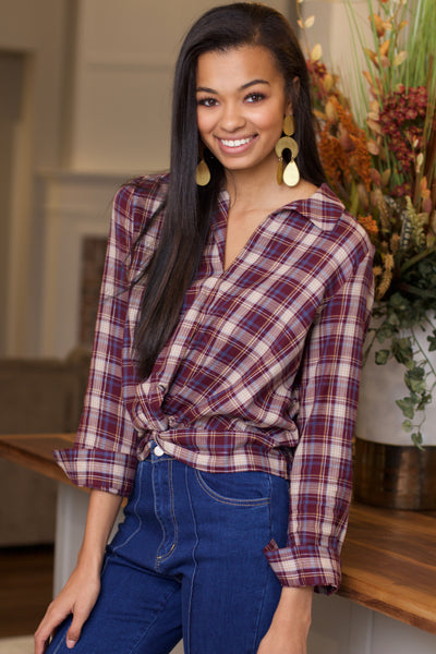 No Matter What Wine Plaid Twist Front Top