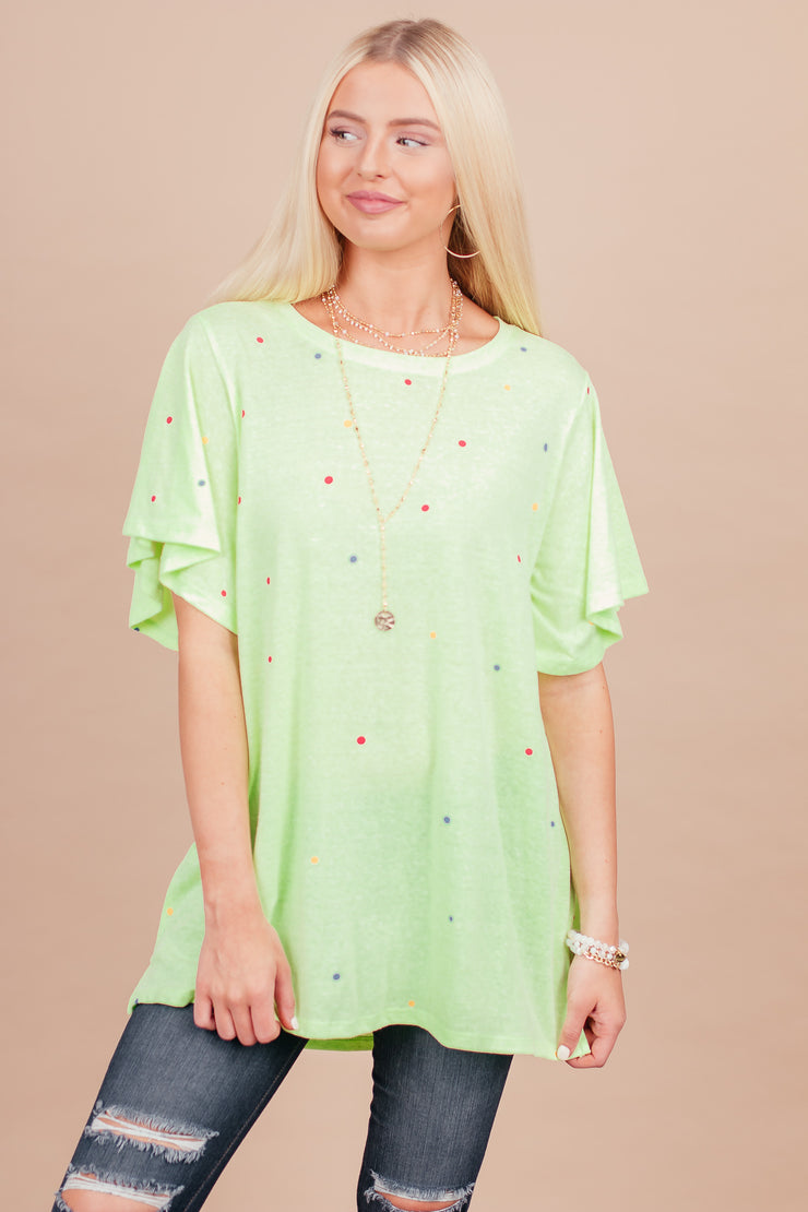 Good Vibes Only Neon Lime with Multi Color Dots Top
