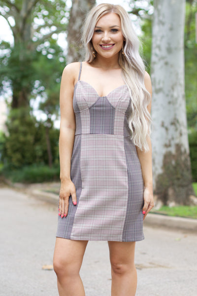 Keep You Close Brown Plaid Bodycon Dress