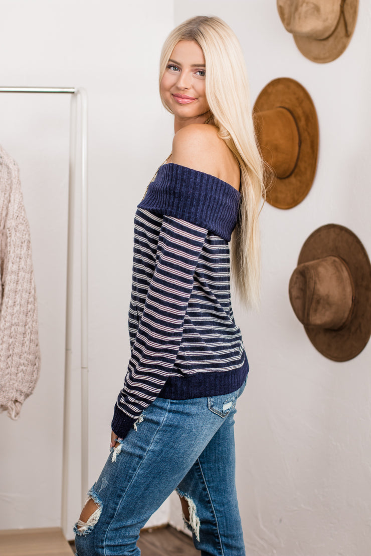 Like Magic Navy Striped Off Shoulder Top