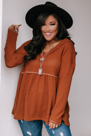 Want It All Camel Popcorn Waffle V-Neck Peplum Top