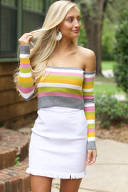 Crushing On You Multi Color Striped Crop Top