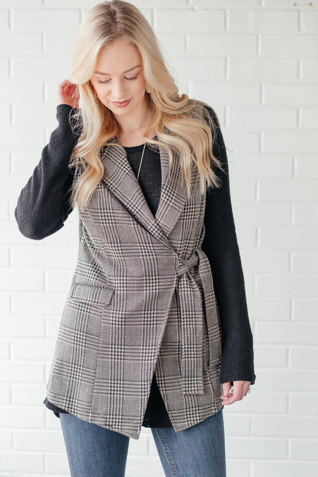New York Minute Camel and Black Plaid Vest