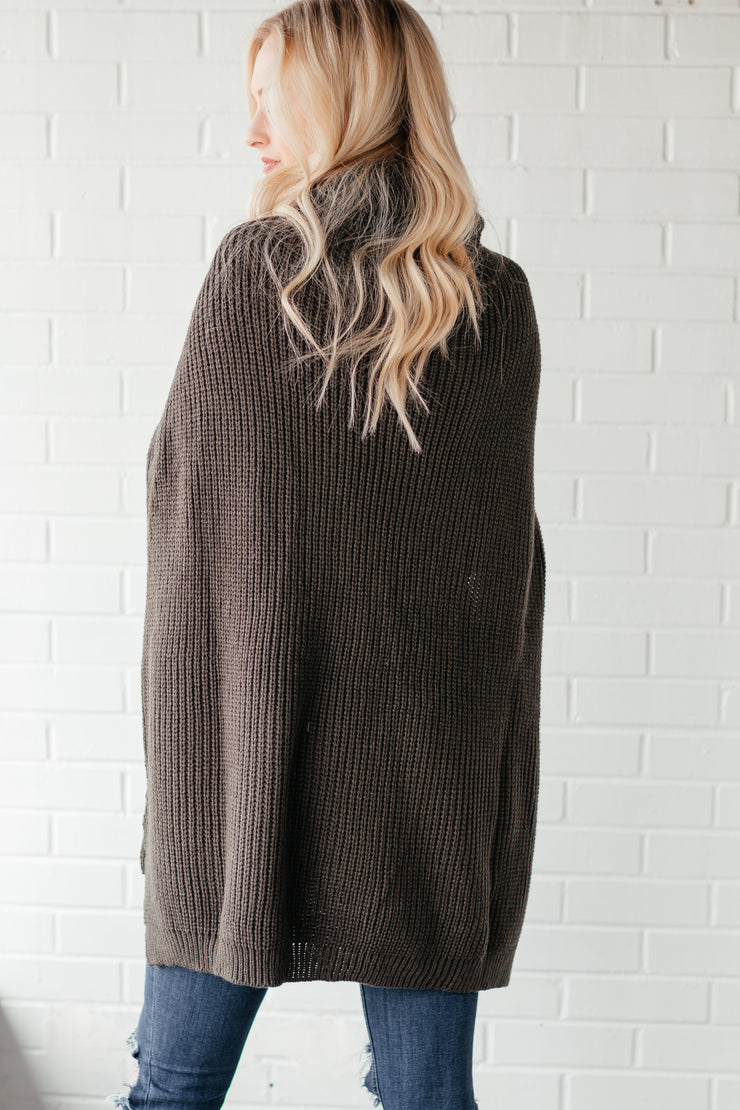 New Beginning Dark Olive Turtleneck Poncho