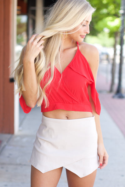 Rising Tides Red Cold Shoulder Ruffle Crop Top