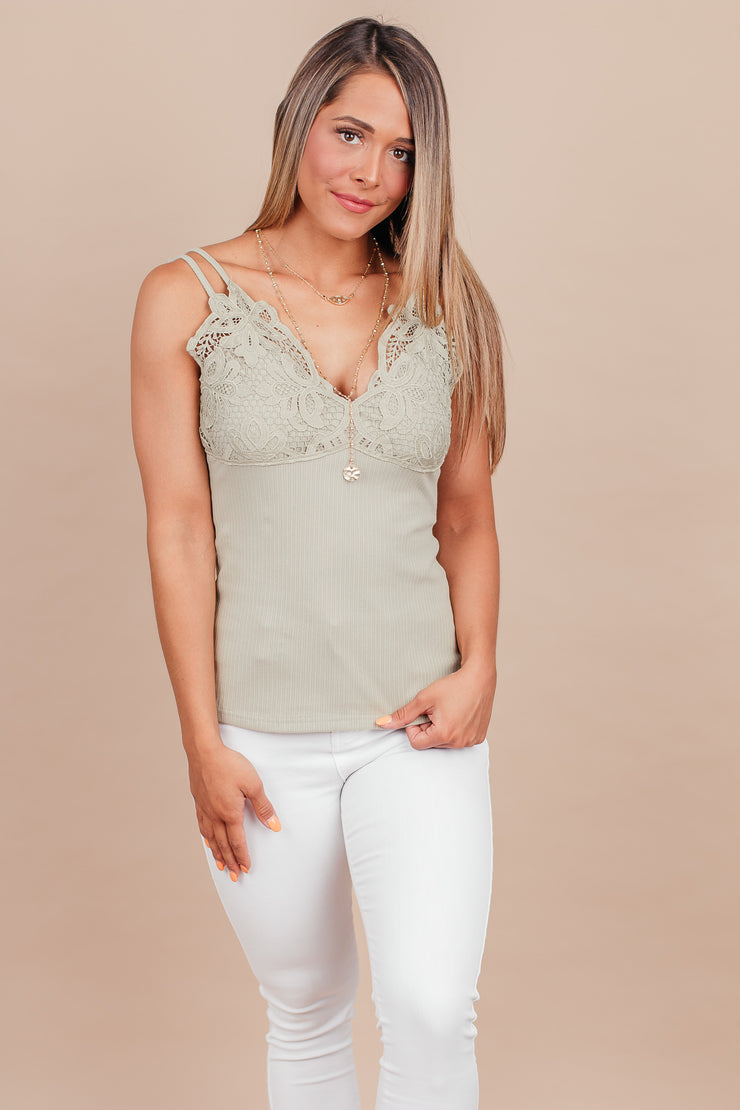 Only You Light Olive Lace Detailed Cami