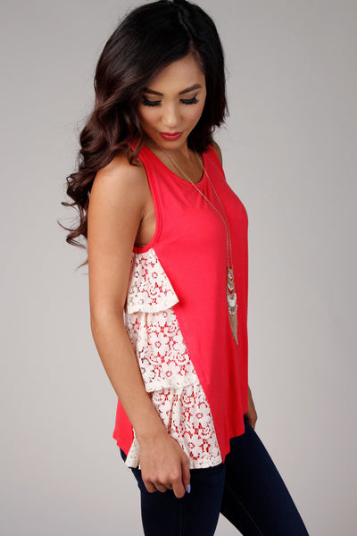 Coral Layered Lace Top