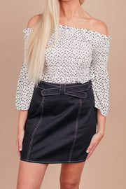 Let This Be Black Waisted Belted Skirt