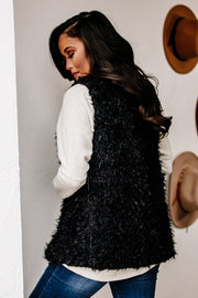 Just Enough Edge Black V-Neck Faux Fur Vest