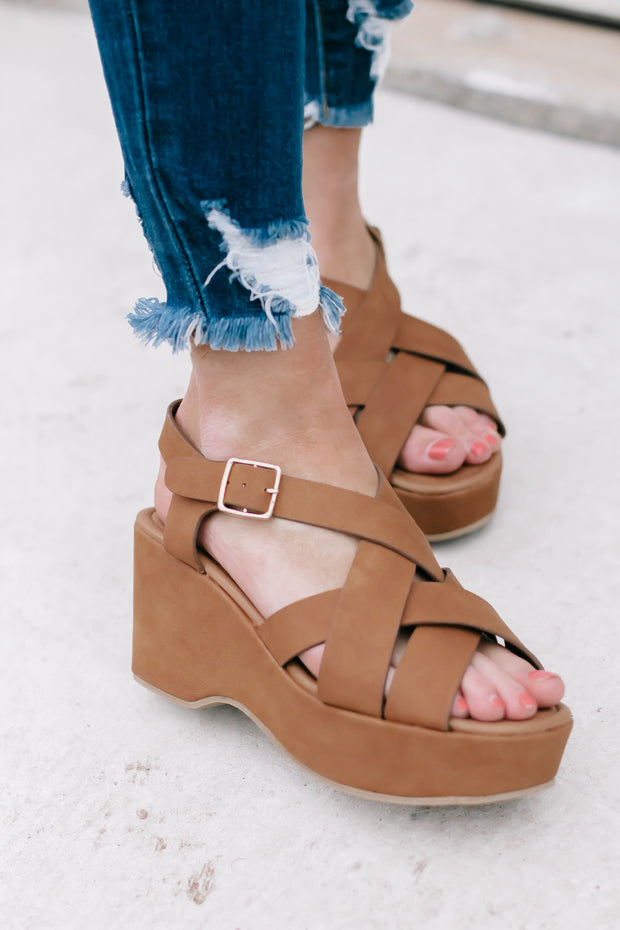 Logan Camel Strappy Wedge Sandals