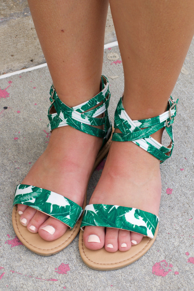 Athena Green & White Strappy Sandal