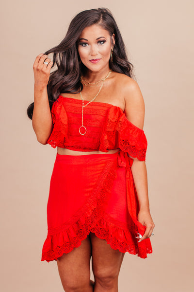 Perfect For Now Red Eyelet Crop Top