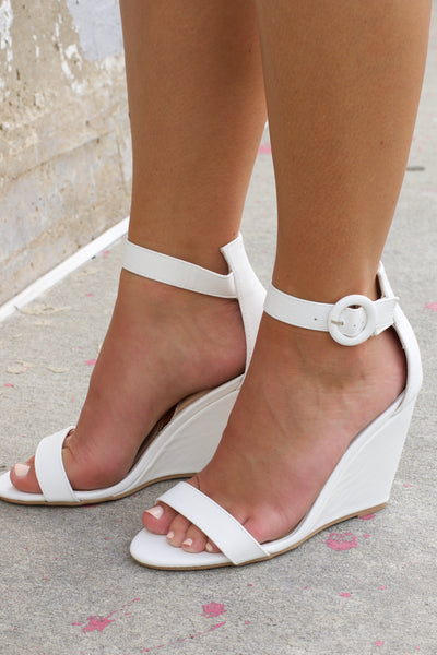 Flix White Ankle Strap Wedge Sandal