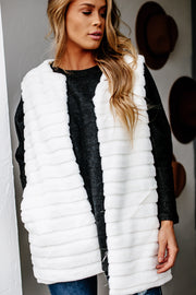 Set Me Up Ivory Faux Fur Vest
