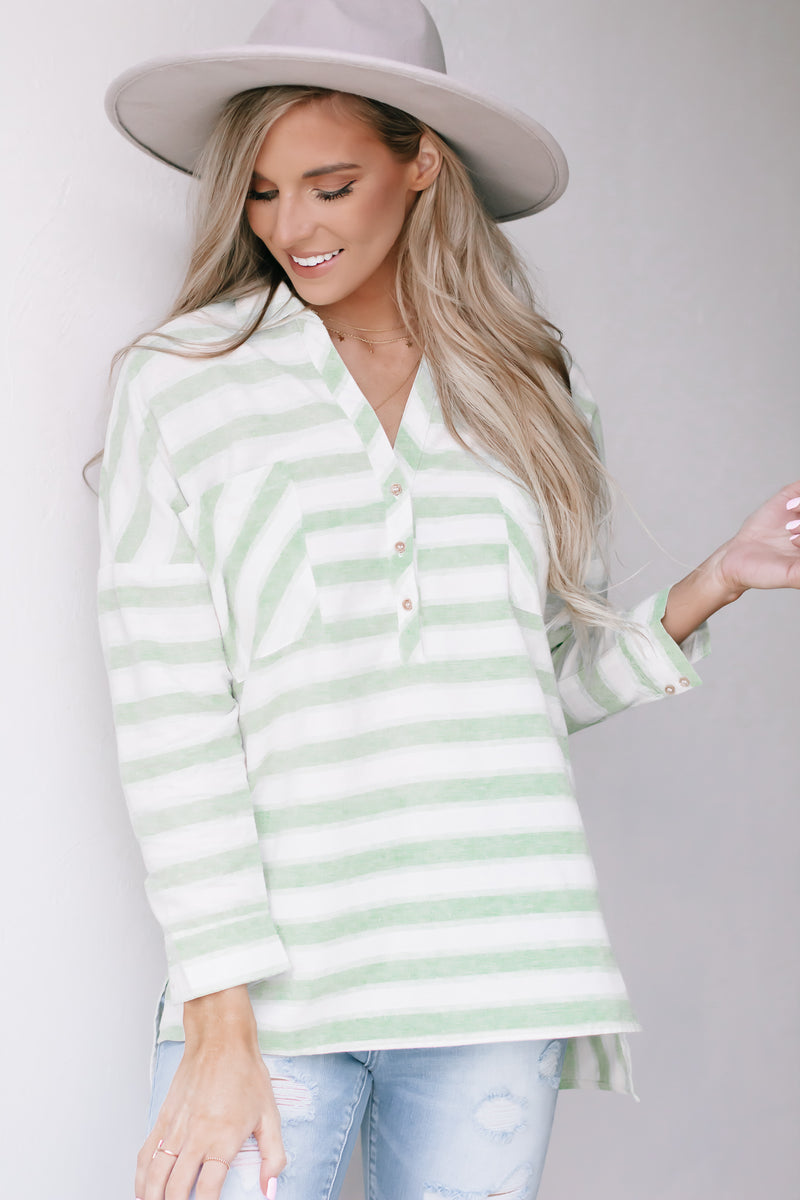 Our Never Say Never Lime Striped Blouse