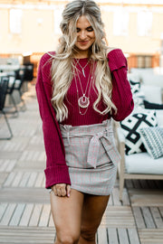 Timeless Combinations Burgundy Bell Sleeve Top