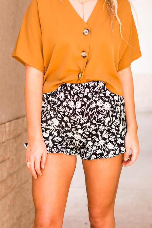 Making Changes Black Printed Shorts