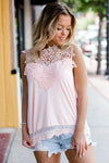 See You Tonight Peach Lace Top