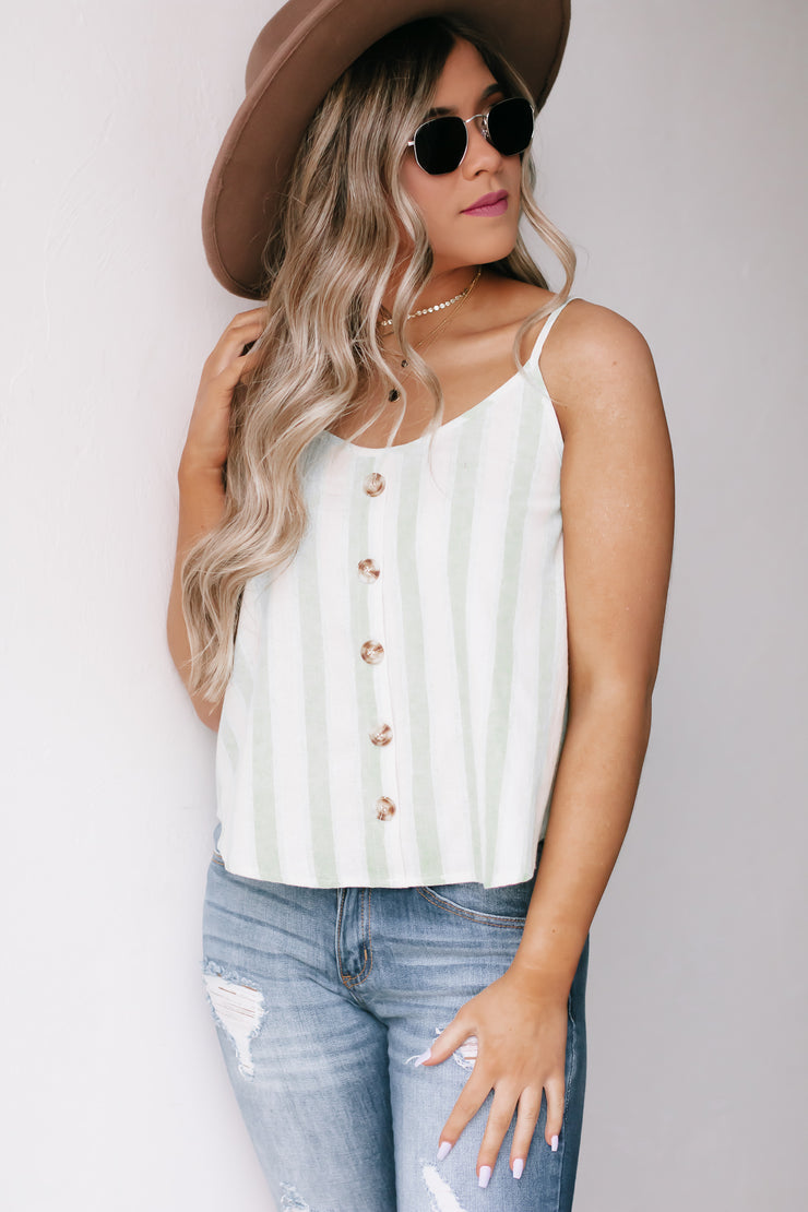 Stuck On Island Time Lime Striped Top