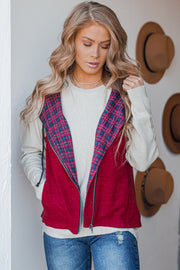 Never Blend In Burgundy Plaid Contrast Vest