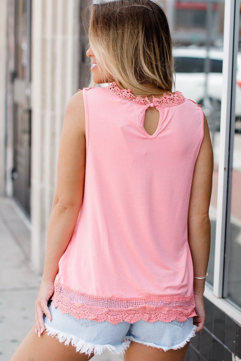 See You Tonight Coral Lace Top