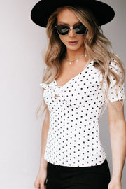 Watching You White Polka Dot Top
