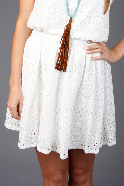 Off White Lace Skater Skirt With Lining