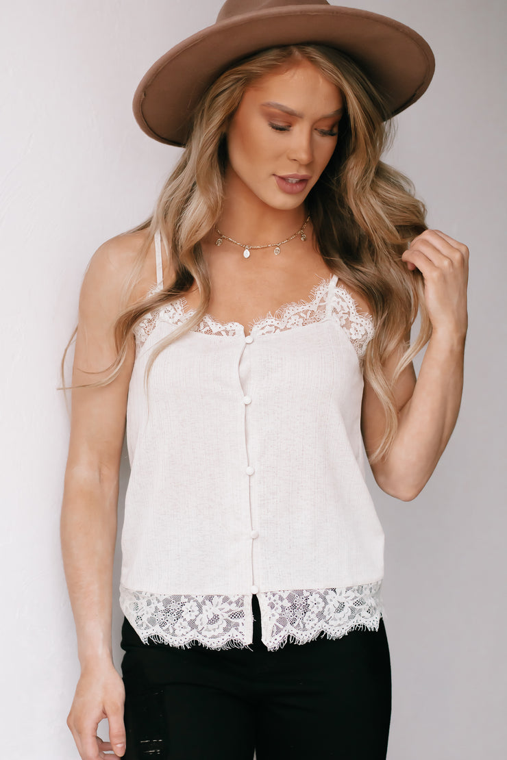 Charmer Champagne Ribbed Button Down Cami With Lace Trim