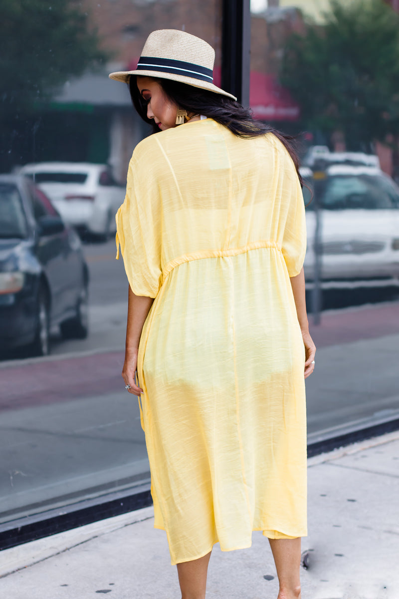 Together Now Yellow Linen Long Kimono