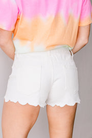 Walks At Sunrise White Scallop Edge Denim Shorts