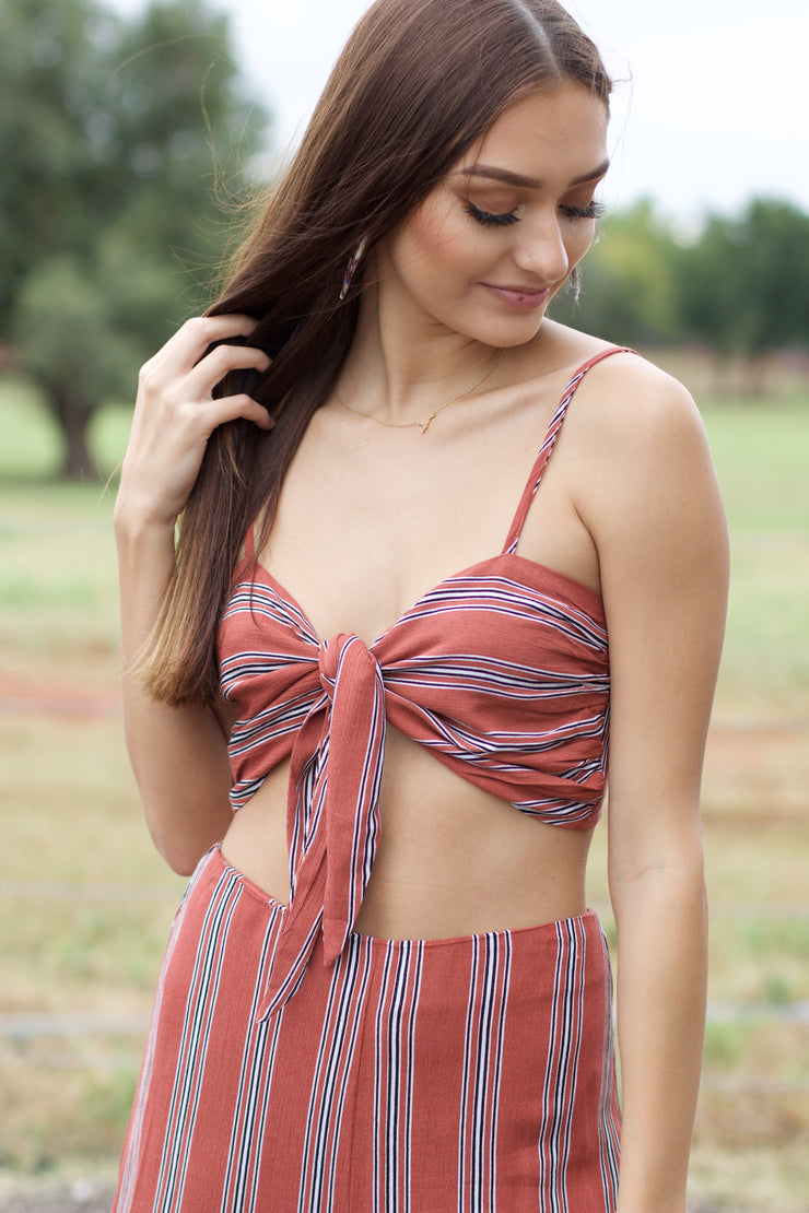 Better Together Rust Striped Crop Top