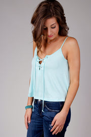 Mint Spaghetti Strap Lace Up Front Top