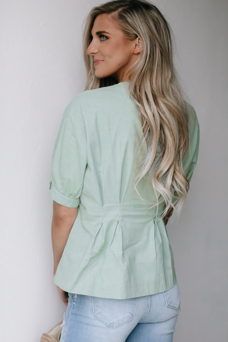 Sweeter Than You Sage Linen Top