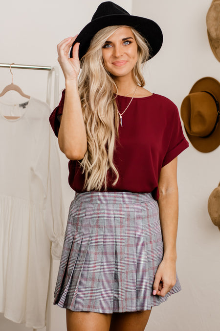 From The Valley Red Corduroy Mini Skirt