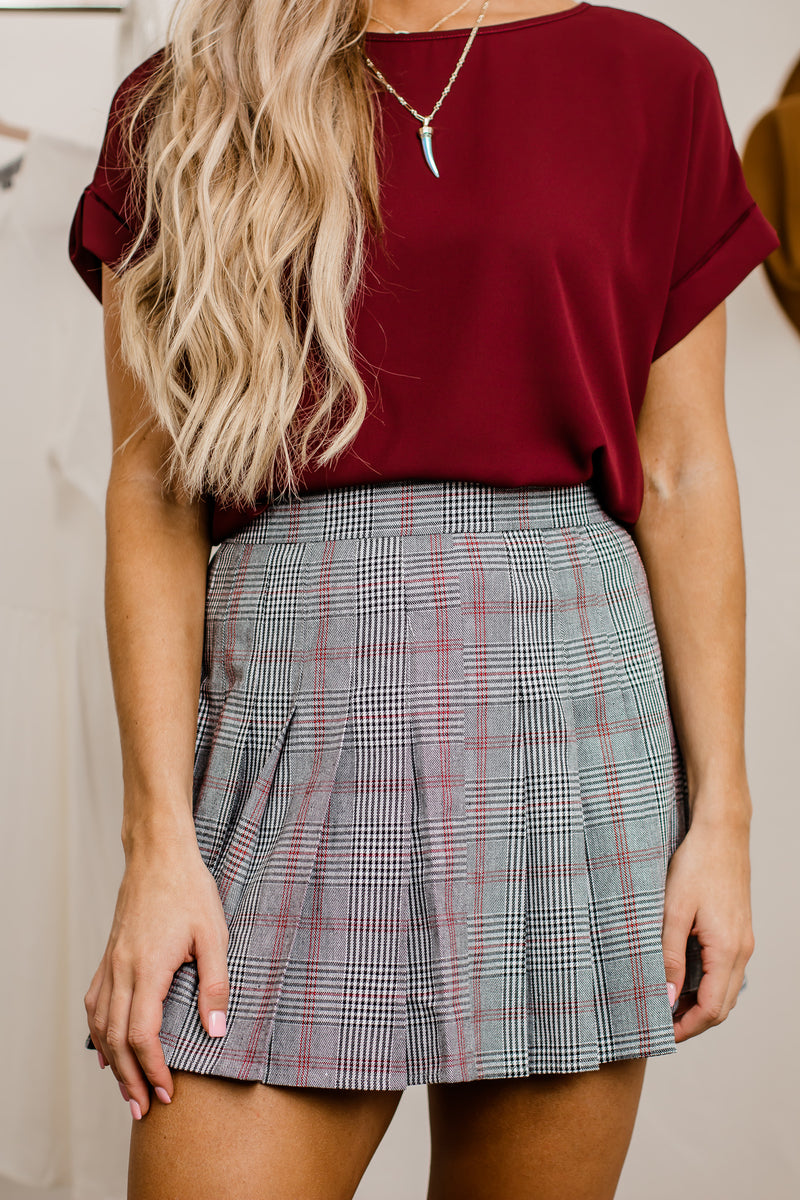Timing Is Perfect Black Plaid Pleated Skater Skirt