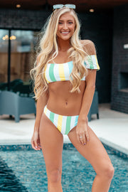 Going Along With It Green Multi Color Striped Bikini Bottoms