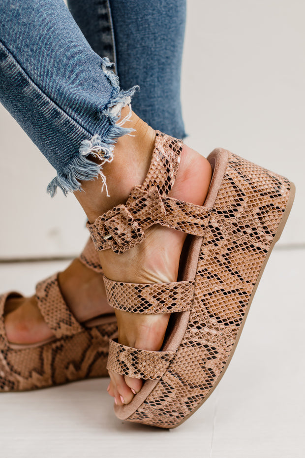 Blondie Ash Coral & Brown Snake Strappy Wedge Sandal