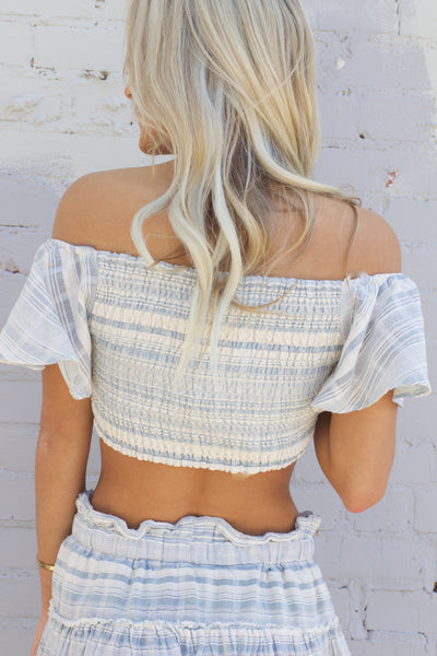Endless Summer Blue Striped Lace Up Crop Top