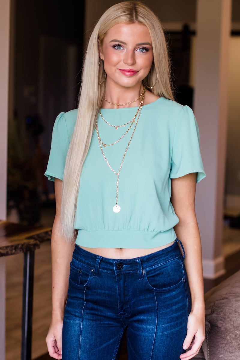 Stop By Later Mint Back Tie Top