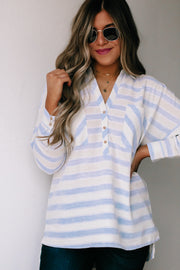 Our Never Say Never Light Blue Striped Blouse