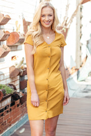 Outdo Yourself Mustard V-Neck Button Up Mini Dress