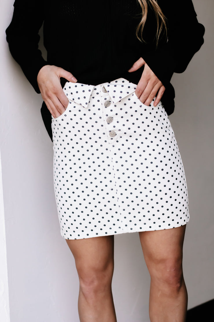 Staying Here White Polka Dot Skirt